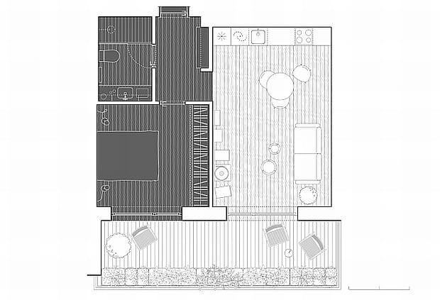 małe mieszkanie, jasne mieszkanie, nowoczesne mieszkanie