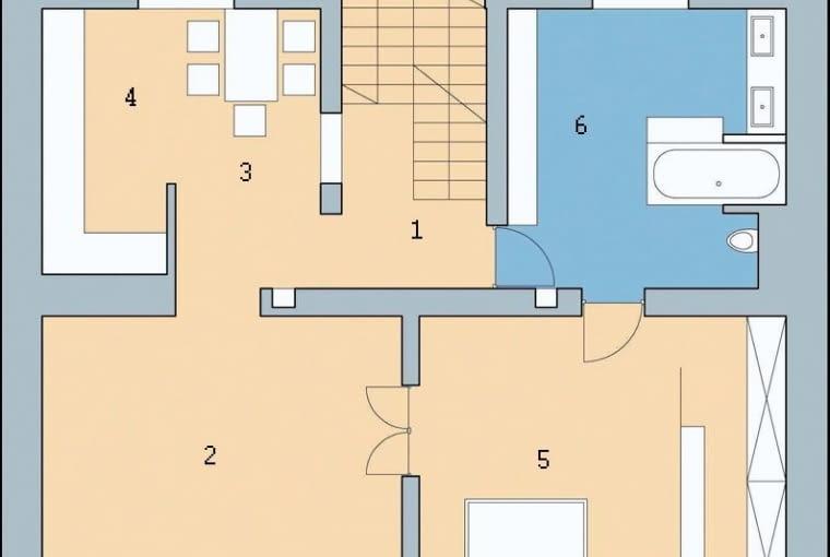 Rzut piętra: 1. hol 4,5 m2; 2. pokój dzienny 23,0 m2; 3. jadalnia 8,4 m2; 4. kuchnia 6,8 m2; 5. sypialnia 21,5 m2; 6. łazienka 15,2 m2
