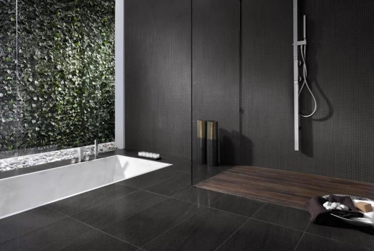 Czarna łazienka w minimalistycznym stylu