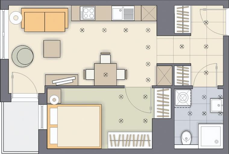Rozwiązanie 2 <BR />Wielkość i kształt sypialni nie zostały zmienione. Mieści się w niej podwójne łóżko z szafką nocną oraz dwie szafy. Jedną z nich zaplanowałam we wnęce przy pionach wodno-kanalizacyjnych. Dwie szafy znajdują się też w przedpokoju.