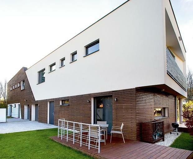 nowoczesny dom, realizacje domów, taras, elewacja, płaski dach