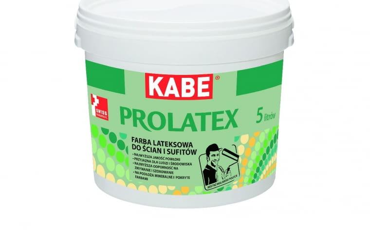 Prolatex/FARBY KABE POLSKA| Rodzaj: farba lateksowa do ścian i sufitów, na podłoża mineralne i pokryte farbami | najwyższa odporność na zmywanie i szorowanie | ekologiczna (bez LZO), odporna na działanie wilgoci | duża wydajność, polecana do pomieszczeń o dużym natężeniu ruchu. Cena: 20,10 zł/1 l (opakowanie 2,5 l), www.farbykabe.pl
