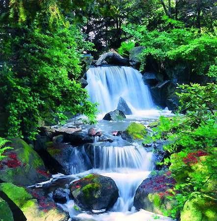 Z południowej części ogrodu wypływa gwałtowny strumień wody. Poprzez kamienną kaskadę męską (<i>otoko-daki</i>). Trzema rwącymi potokami podąża do symbolicznego morza, gdzie łączy się z wodami strumienia żeńskiego (<i>onna-daki</i>).