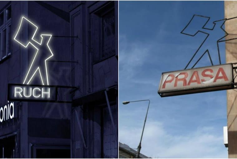 """Neon """"Kioskarz"""" przy pl. Konstytucji, wizualizacja i stan obecny"""