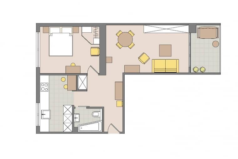 Rzut oka na plan: 51 m2 . WWarszawie, 2 pokoje . Domownicy: Aneta i Paweł