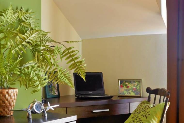 Kącik do pracy powstał w narożniku pokoju. Biurko z płyty fornirowanej dębem barwionym na wenge zrobił na wymiar stolarz.