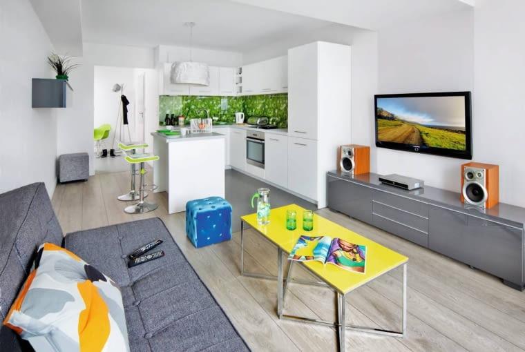 mieszkanie, aranżacja wnętrz, otawarta kuchnia, pokój dzienny