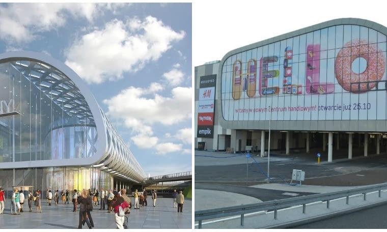 Jedna z pierwszych wizualizacji Poznań City Center i gotowy już budynek