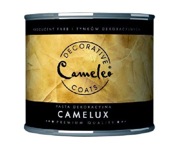Pasta dekoracyjna Camelux firmy CAMELEO; efekt: metaliczny; kolor: złoty, srebrny, miedź; możliwość łączenia ze stiukiem weneckim; cena: 49 zł/0,25 kg