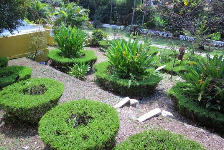 Frontowe tarasy ogrodowe z zaprojektowanymi przez właścicieli strzyżonym klombami