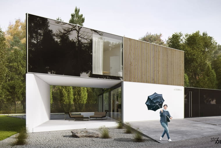 Budynek z drewnianymi panelami
