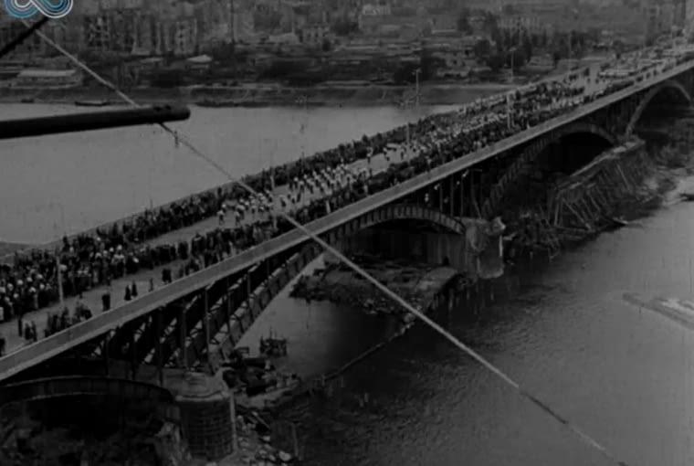 Otwarcie Mostu Poniatowskiego 22 lipca 1946 - kadr z Polskiej Kroniki Filmowej nr 24/46