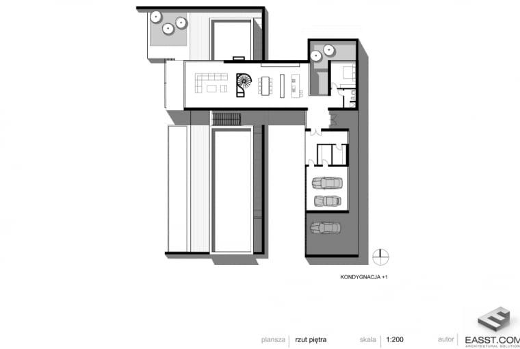 Betonowy dom w Muchocinie pod Poznaniem - rzut I piętra