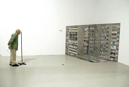 Nicolas Grospierre, 2D > 3D, anamorficzna fototapeta, CSW ZUJ, Warszawa 2007