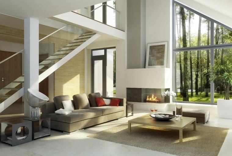 dom nowoczesny, salon, kominek, schody wewnętrzne, duże okna