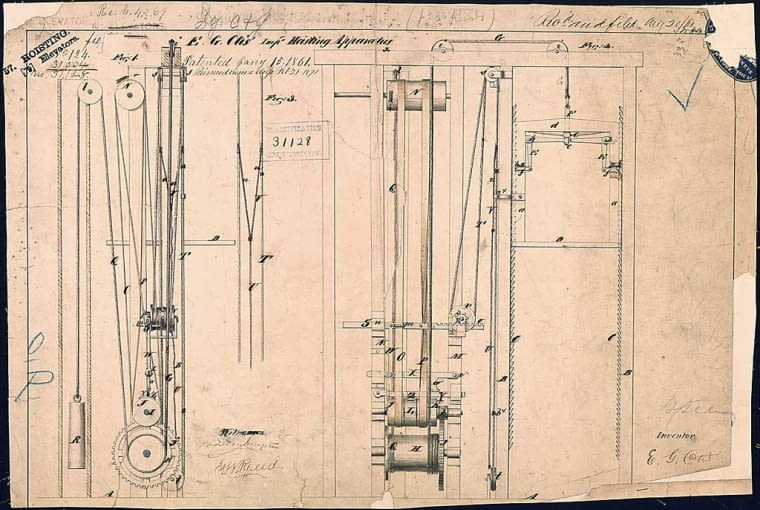 Projekt windy, autor Elisha Otis, ilustracja w domenie publicznej