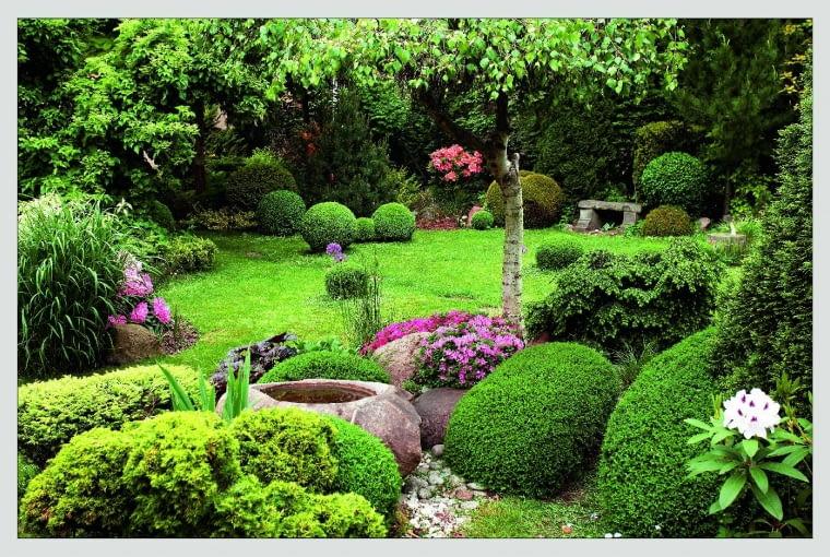 Ogród w wiosennej odsłonie to feeria wszelkich zieloności. Rumieńców dodają mu kwitnące różaneczniki i azalie japońskie.