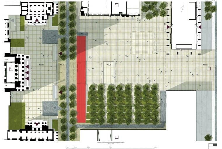 Jeden z pięciu nagrodzonych projektów w konkursie na projekt placu Centralnego w Warszawie
