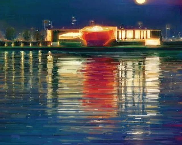 Centrum Nauki Kopernik w nocnej scenerii