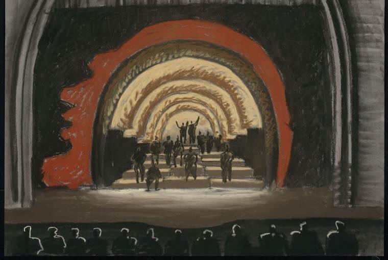 Projekt dekoracji scenicznej do sztuki Svetlyj put' 19.17 (Świetlisty szlak 19.17) w Moskiewskim Teatrze Artystycznym pastele na papierze, 2017