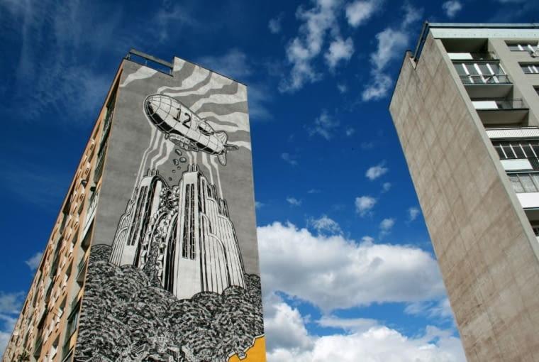 Mural autorstwa Mariusza Warasa (m-city) wykonany podczas pierwszej edycji Festiwalu Monumental Art na gdańskim osiedlu Zaspa.