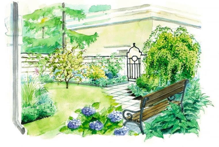 Widok ogrodu po metamorfozie według drugiego projektu