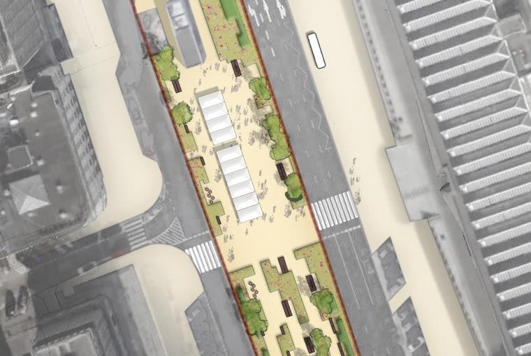 Projekt nowej zieleni na placu Powstańców Warszawy w Warszawie - jeden z wariantów projektowych