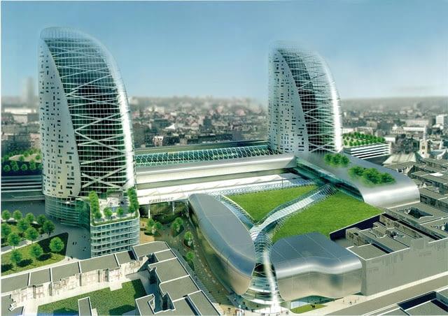 Znaczną część pl. Szewczyka ma według projektu zająć kompleks usługowo handlowy. Nad halą dworca wyrastać mają dwie bliźniacze wieże, które powstałyby na końcu inwestycji w 2012 roku