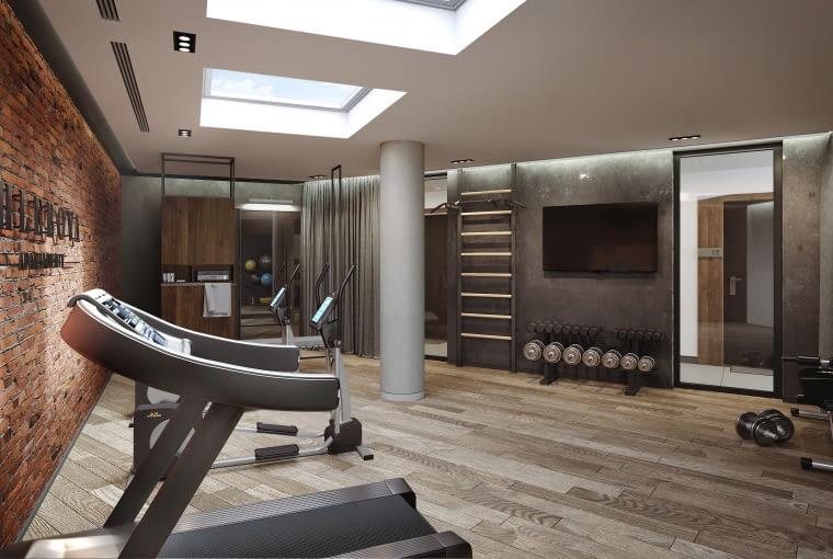 Chlebova Apartamenty w Gdańsku - strefa fitness. Proj. Roark Studio
