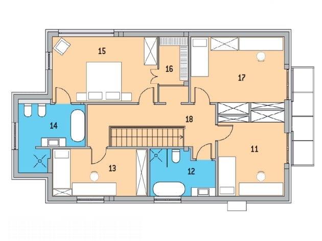 Rzut piętra - 11. Pokój - 16,4 m2; 12. Łazienka - 7,7 m2; 13. Gabinet/pokój gościnny - 12,6 m2; 14. Pokój kąpielowy - 10,3 m2; 15. Sypialnia główna - 19, 4 m2; 16. Garderoba - 4,0 m2; 17. Pokój - 18,8 m2; 18. Korytarz - 13,6 m2