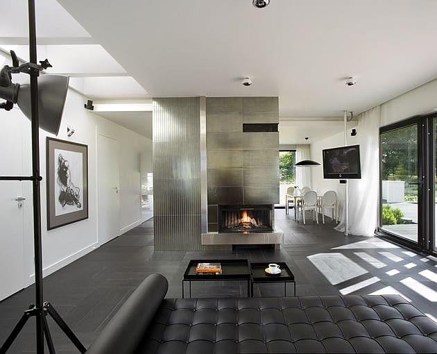 dom jednorodzinny, nowoczesny dom, kominek