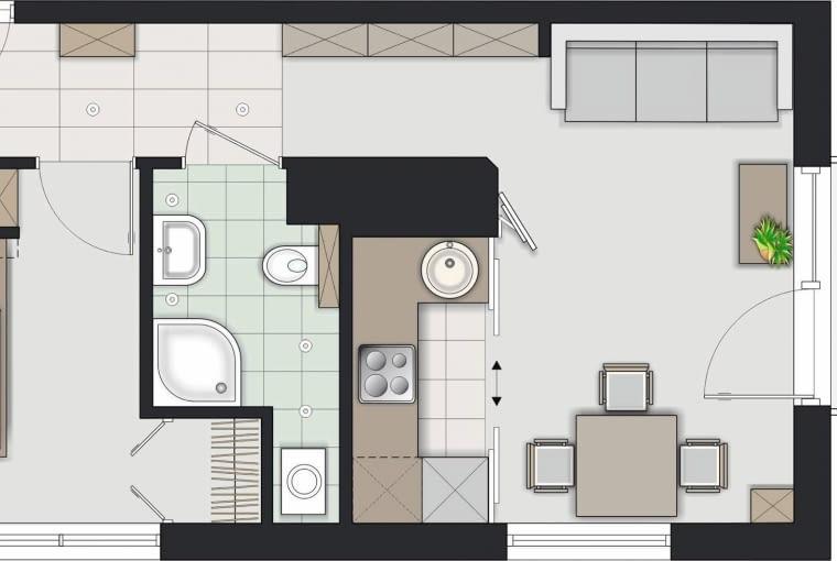 Rozwiązanie 1 <BR />Przedpokój zachował swój kształt. Płytką szafę umieściłam przy wejściu do salonu. Oprócz niej jest głęboka szafa naprzeciw wejścia do mieszkania i mała garderoba w sypialni.