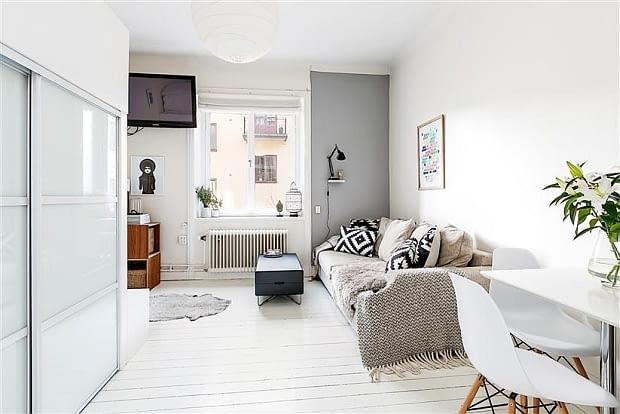 mieszkanie w skandynawskim stylu, jak urządzić małe mieszkanie, małe mieszkanie, kawalerka, jasne małe mieszkanie, przytulne małe mieszkanie