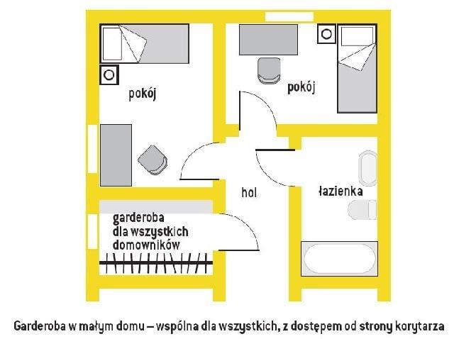 Garderoba w małym domu - z jednej strony wieszaki, z drugiej półki na buty