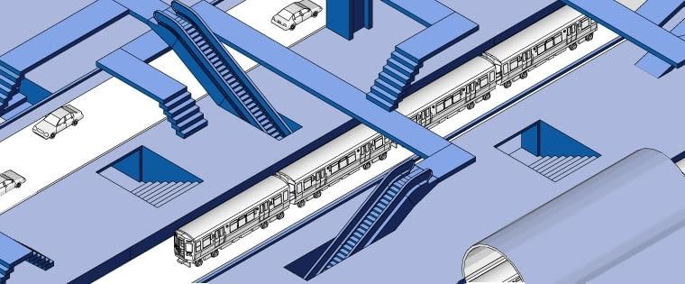 Grafika prześmiewczo przedstawiająca ciągi komunikacyjne na poznańskim dworcu kolejowym, jej autorem jest Grzegorz Pawlak, członek stowarzyszenia Inwestycje dla Poznania.