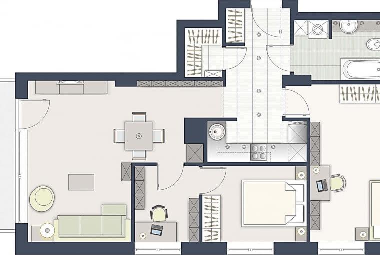 Rozwiązanie 1. Zasadnicza zmiana zaszła w strefie dziennej. Miejsce na widny gabinet wygospodarowałam kosztem salonu, a kuchnię przeniosłam do centralnej części mieszkania. Przez domowe minibiuro wchodzi się do Państwa sypialni.