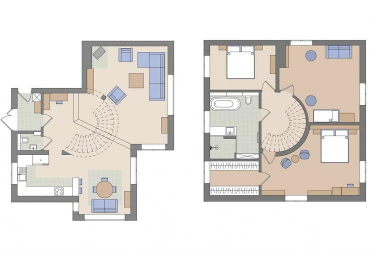 Z lewej: plan parteru/ z prawej: plan piętra