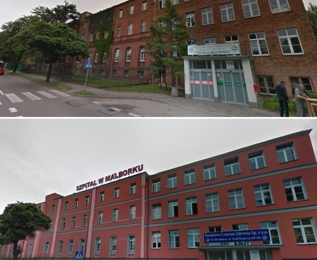 Termomodernizacja szpitala w Malborku, fot. Google Street View