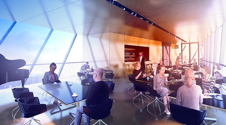 Wnętrze restauracji na wieży