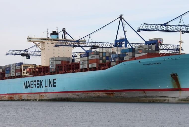 Kontenerowiec 'Eleonora Maersk' w Porcie Północnym w Gdańsku