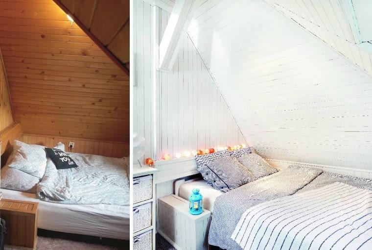 Sypialnia przed i po