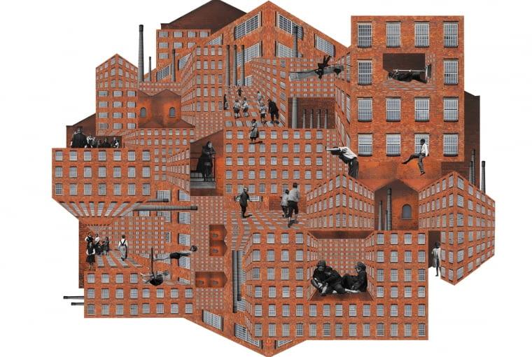An industrial city, kolaż, na podstawie Ernesta Jonesa A northern English town. Część instalacji wizualno-dźwiękowej Unwell-Tuned Architecture of Dystopia