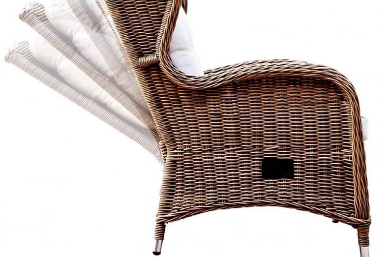 Różne poziomy. Fotel Bilbao, zeko-rattanu, który nie blaknie pod wpływem słońca. Ma regulowane oparcie, zmożliwością opuszczania do trzech pozycji. Idealny na popołudniowe leniuchowanie. houseandmore.pl