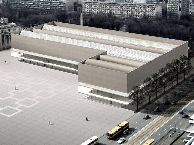 Pierwsza wersja gmachu muzeum - koncepcyjna, która zwyciężyła w międzynarodowym konkursie w lutym 2007 roku. Z racji prostoty bryły, przez internautów nazwana Carrefour'em. Charakteryzowała się betonową elewacją, optycznie lewitującą nad szklanym przyziemiem.