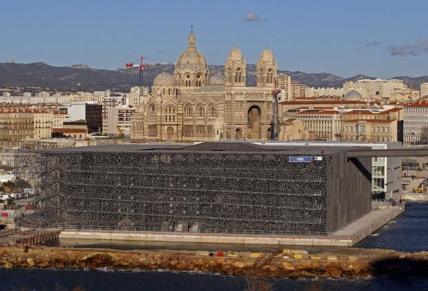 A general view shows the Museum of Civilizations from Europe and the Mediterranean (MuCEM) in Marseille January 11, 2013. The museum, based in the Fort Saint-Jean overlooking the southern French city will open 2013 as Marseille will be the European Capital of Culture. REUTERS/Jean-Paul Pelissier (FRANCE - Tags: CITYSCAPE ENTERTAINMENT BUSINESS CONSTRUCTION)