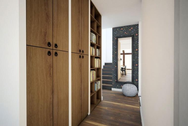 Drewniane meble na tle białych ścian