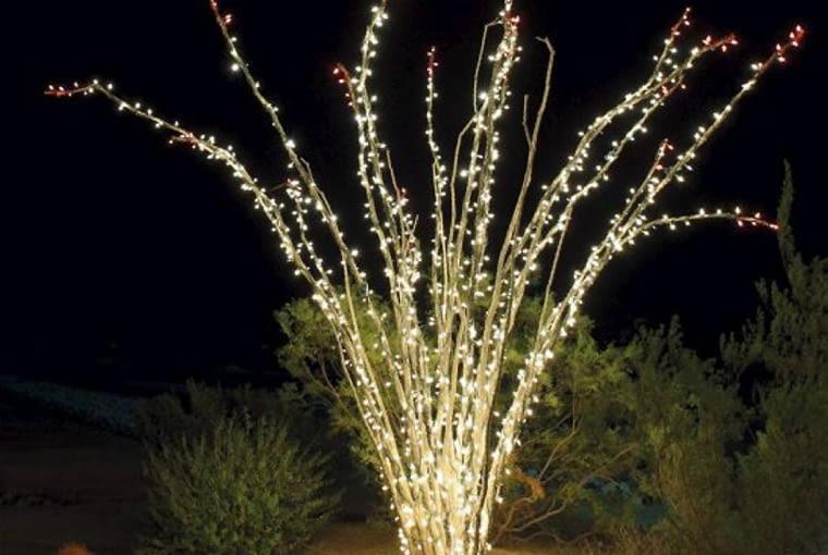Odświętne oświetlenie ogrodu. Dzięki diodom bezlistne pędy krzewów po zmroku przypominają fontanny