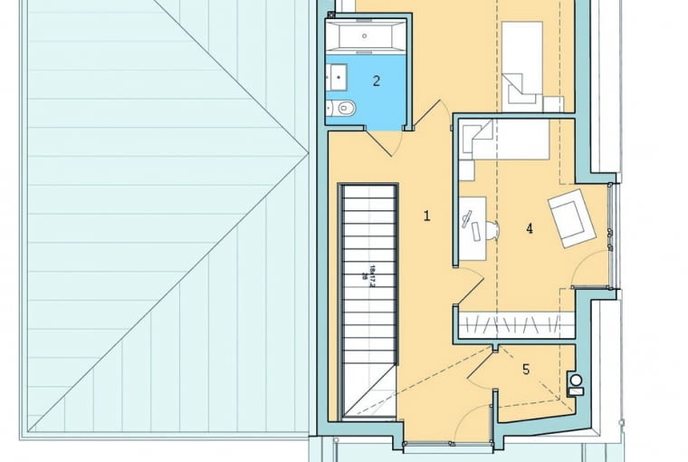 dom jednorodzinny, dom-bliźniak, poddasze, rozkład pomieszczeń w domu