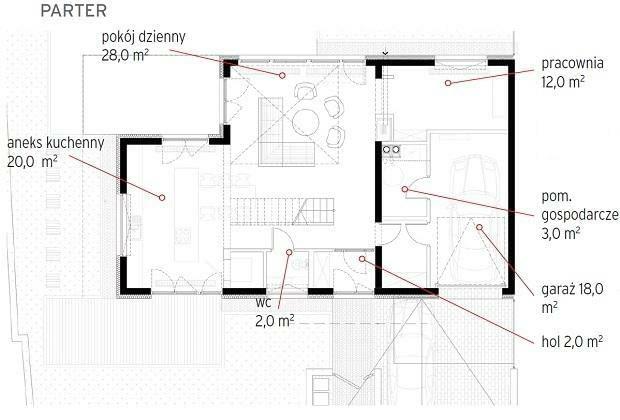 nowoczesny dom, plany