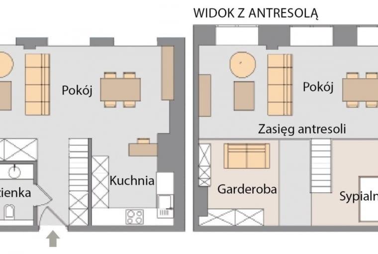 Plan mieszkania: 45 m kw.